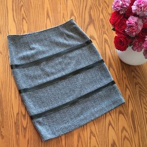 Grey & Black Pencil Skirt